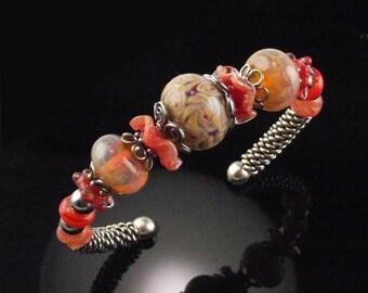 Sweet Peach: Sterling and Boro Bead Bracelet