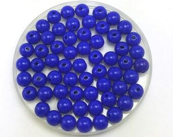 100 Blue Acrylic Beads 8MM round (H2804)