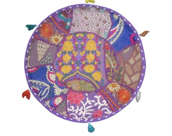 Indian Handmade Patchwork Home Decor Imbroidery Round Cushion Cover