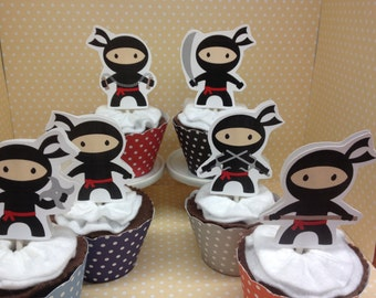 Ninja Boys and Girls Party Cupcake Topper Decorations - Set of 10