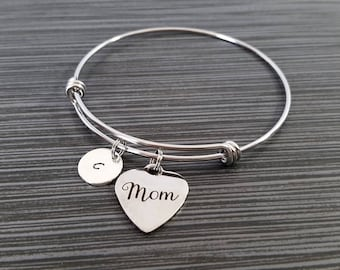 Mom Bangle - Mother Bracelet - Expandable Charm Bracelet - Mom Initial Bracelet - Gift for Mom - Mother Bracelet - Mothers Day Gift
