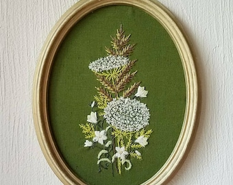 Vintage crewel embroidered flowers, ferns, queen anne's lace, kitsch wall hanging art, framed embroidery