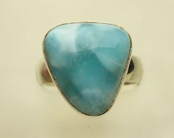 Larimar Silver Ring, Larimar Caribbean Aqua Blue Cabochon Sterling Silver Ring, Pectolite #23
