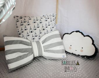 BIG BOW PILLOW- Teepee accessory - stripes