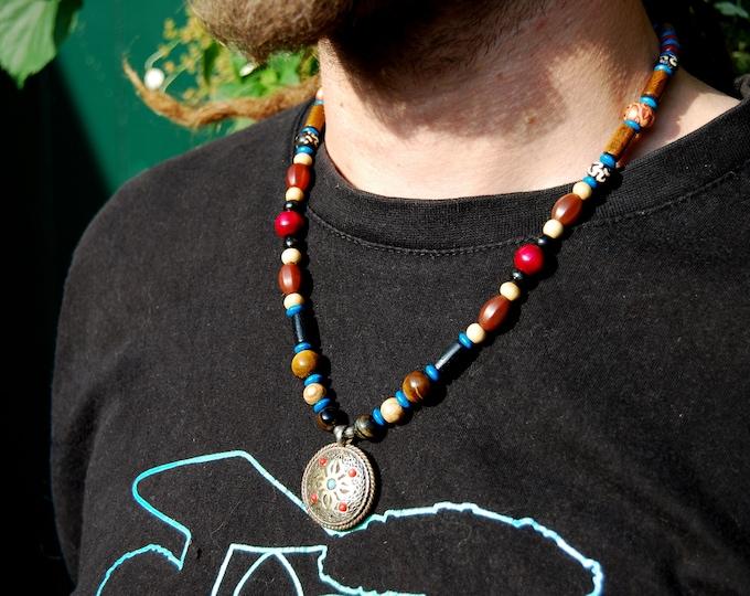 Aum and Vajra Dorje Ethnic Tribal Vintage Mens Necklace Beaded