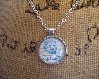 Stamp Jewelry, Stamp Necklace, Vintage Stamp, Stamp Pendant, Pendant Necklace, One of a Kind, Jack London Stamp, MarjorieMae