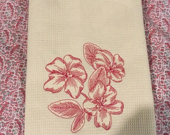 Flower embroidery kitchen towel