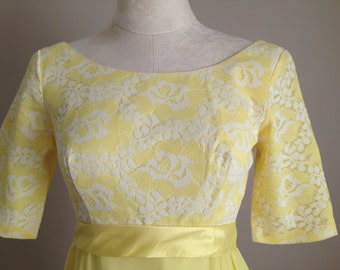 SALE! 1960s 60s vintage yellow dress prom party formal chiffon
