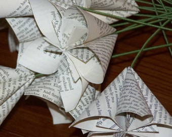 10 Plain Origami Book, Sheet Music, or Map Pages Paper Flowers With Stems
