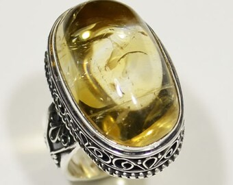 Sterling Silver Citrine Ring, Silver Ring, Citrine Ring, Cabachon Ring, Citrine, Oval, Carved Band .925 Sterling Silver Ring Size 8.25