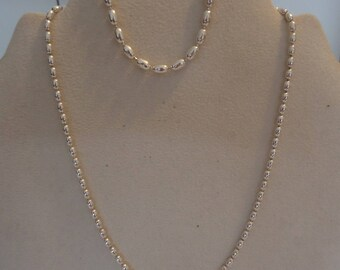 """925 Sterling Silver 16"""" Oblong Bead Chain Necklace and 7"""" Bracelet, Jewelry Set, 20 Grams"""
