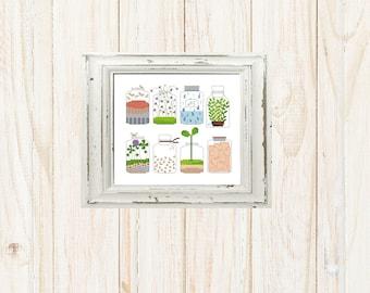 Floral jar embroidery cross stitch pattern sampler, Florarium mason jar hearts counted cross stitch chart