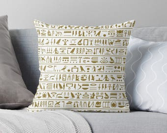 Hieroglyphics Pillow | Ancient Egypt | History Teacher Gift | Egyptian Decor | Egyptian Pillow | Egyptian Gift | Egyptian Print