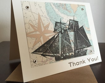 Ship and Nautical Map, 6-Pack Screen-Printed Thank You Cards