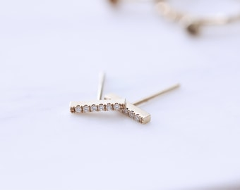 14K or 18K Gold Diamond Dainty Minimalist Mini Bar Earrings, Hypoallergenic, MADE to ORDER in US, Gift for Her