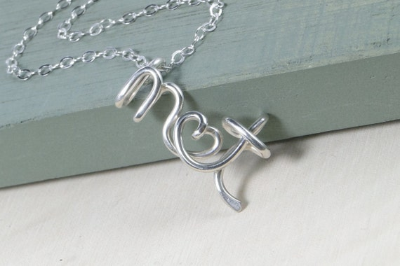 Sterling Silver Initial Necklace, Name Necklace, Wedding Gift, Valentine's Day Gift, Birthday Gift, Gift For Her, Couples Necklace