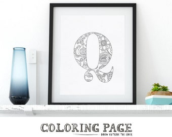 Printable Coloring Letter Q Floral Coloring Page Instant Download Alphabet Coloring Pages Wall Art Printable Adult Coloring Art Therapy Zen