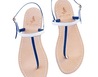 Two Tone Capri Sandals White-Blue - Handmade in Italy