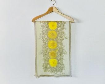 Long Vintage Mid Century Vera Neumann Scarf Verasheer Acid Yellow Tan Floral Ladybug Logo