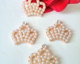 4 Gold Metal Rhinestone Pearl Crowns, 23mm*23mm Crowns, Craft Supply Crowns, Headband Supply