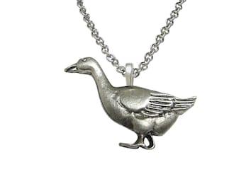 Detailed Goose Bird Pendant Necklace