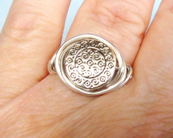 Sterling Silver Ring, Silver Ring,  Medallion Ring, Wire Wrapped Ring, Coin Ring, Sterling Silver Jewellery, Silver Jewelry