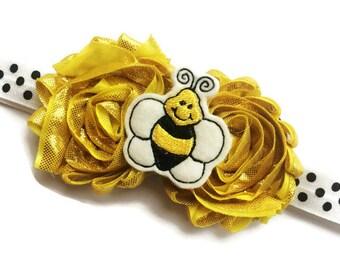 Bumble Bee Headband - Yellow and Black Baby Bee Headband - Spring Headband for Girls - Yellow Flower Headband - Summer Headband Photo Prop -