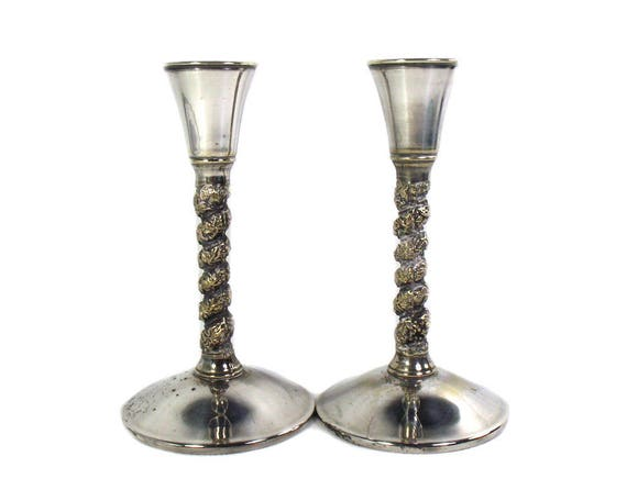 Pair of Vintage Silver Plated Candlesticks by Falstaff