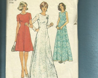 1970's Simplicity 6094 Evening or Day Length Dresses with Shaped Empire Detail on an Elegant Flared Skirt Size 14