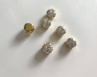 Rhinestone Crystal has sew base gold 10 mm