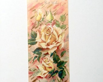 Vintage 1950s Floral Congratulations Card Best Wishes Card Unused Vintage Card