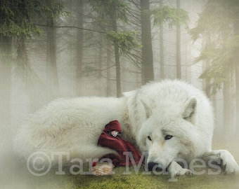 Little Red Riding Hood and Wolf Digital Background