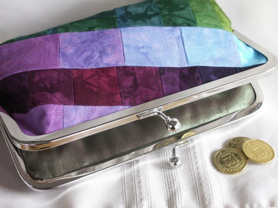 Handmade, hand dyed, patchwork clutch. Purple, aqua, green, magenta. ASYMMETRY by Lella Rae on Etsy