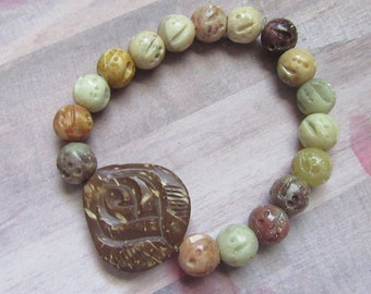 Handmade Boho Wood Flower Beaded Stretch Bracelet with Soapstone Beads