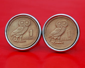 Gorgeous 1973 Greece 1 Drachma Coin Silver Plated Cufflinks NEW - Athena's Owl