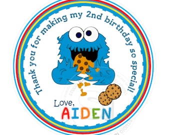 "Custom Baby Cookie Monster Thank you Tags- 2.5"" or 2"" Printable, Sesame Street Tags- Personalized  Birthday Thank you Tags- Digital file"