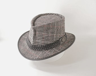 Leather and tweed fabric hand made Fedora / Gangster style mens and womens hat / traditional style