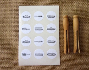 Vintage Brushes Stickers One Inch Round Seals