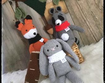 Animals of the forest, Fox, rabbit, raccoon, bear