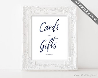 Navy Cards and Gifts Sign Template. Printable Cards and Gifts Sign. Gifts and Cards Wedding Sign. Wedding Cards and Gifts Sign. Calligraphy