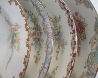 Vintage Mismatched China Soup Bowls, Salad Bowls, China Bowls, Farmhouse, Rustic, Shabby, Cottage Chic, Wedding, Bridal Gift - Set of 4