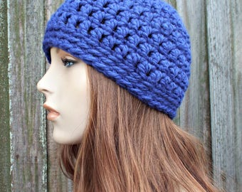 Cobalt Blue Beanie - Blue Crochet Hat Blue Womens Hat Blue Mens Hat - Warm Winter Hat Blue Hat