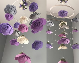 Felt flower roses mobile crystals  |  girls room hanging decor | baby girl nursery | customizable, choose your colors |