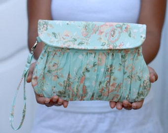 Clutch Pastel mint green floral, gathered clutch, pastel color clutch