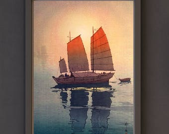 Art Print, Shin-Hanga: Morning Sailing Boats by Hiroshi Yoshida (1926)