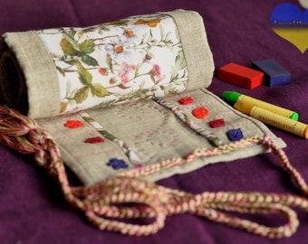 Crayon Wallet, Crayon Roll, Crayon Organizer, Crayon Roll up, Crayon Keeper, Crayon Tote, Crayon Case, Crayon Gift, Waldorf Crayon Roll