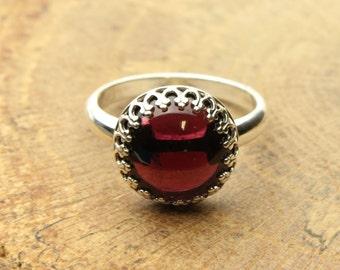 Red Garnet Ring Red Gemstone Cabochon, Sterling Silver Ring