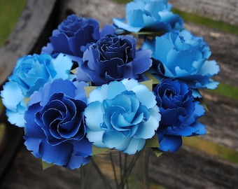 Blue Ombre Wild Roses, Dozen. Or CHOOSE YOUR COLORS. Centerpiece, Wedding, Paper Flower Bouquet, First Anniversary