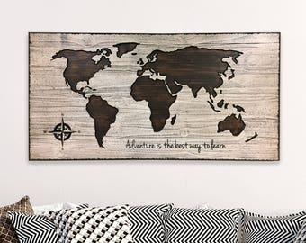 Nursery room decor walt disney quote custom quote world map map wall decor home wall decor wood wall art wooden map world gumiabroncs Images