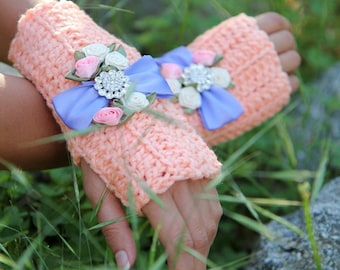 Fingerless Gloves in Coral - Hand Warmers with Bows and Crystals by Mademoiselle Mermaid